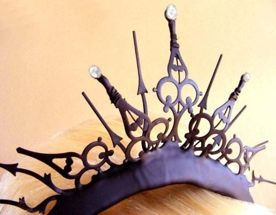 Gothic Tiara with large Fresh Water Baroque Pearls- The Queen of Hearts Royal Whim