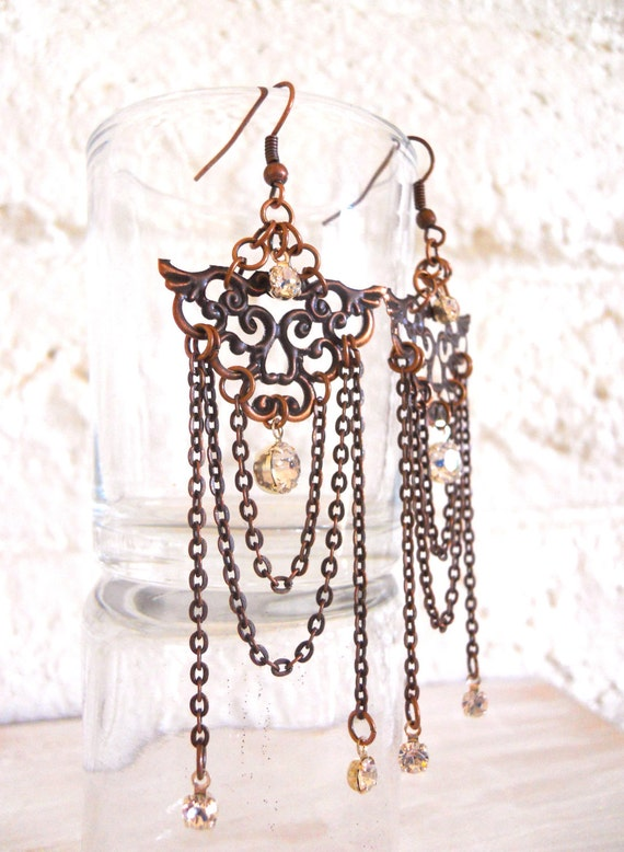 Chandelier Earrings Antiqued copper with crystals asian inspired