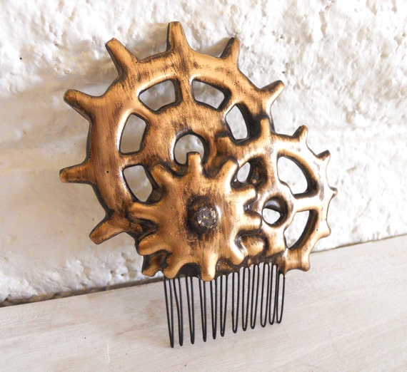 Cogs Gears Steampunk Gothic Hair Comb distressed  Antique Gold- Elegant Machinery