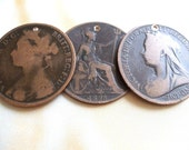 Antique Victorian Pennies Drilled Or Undrilled For Steampunk Jewelry Altered Art Mixed Media Assemblage Design
