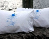 Peacock Feather Pillowcase Pair Standard Blue on White