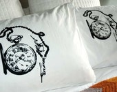 Screen Printed Vintage Pocket Watch Pillowcase Pair Standard