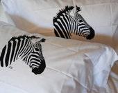 Zebra Hand Screen Printed Pillowcases Set of Two Standard