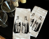 Vintage Whiskey Bottle Screen Printed Towel Pair- bar towel- liquor- flour sack towel-fathers day gift- kitchen towel