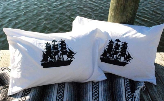 Ship Pillowcases Pair Standard Navy on White Hand Screen Printed