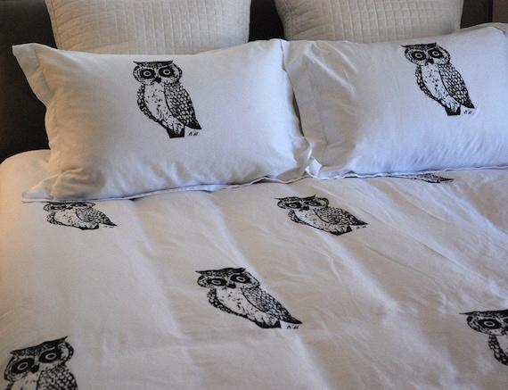 Hand screen printed Owl Duvet Set Full/Queen Size