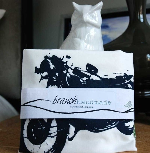 Vintage Motorcycle Screen Printed  Pillowcases Standard Pair- pillowcase- motorcycle pillow-fathers day gifts