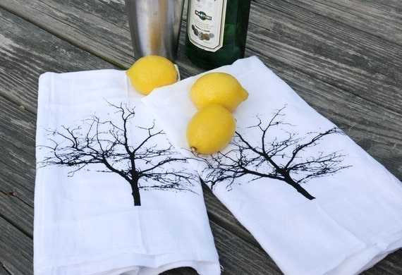 Screen Printed Cotton Bar Towels Set of Two Tree Silhouette
