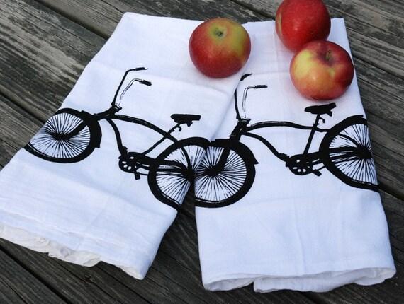 Beach Cruiser Cotton Bar Towels Set of Two- bike towel- bicycle- tea towel- floursack towel- dishcloth