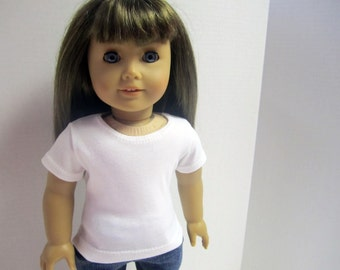 American Girl 18 inch Doll Fitted T-Shirt in White by Crazy For Hue
