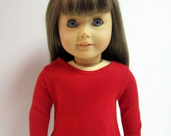 American Girl Doll Fitted Red Long Sleeved T Shirt by Crazy For Hue