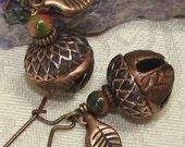 Copper Bells Acorn Earrings Vintage-look  Dryad Nymph