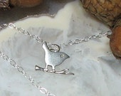 All Sterling Bird Necklace Dainty 925 Silver Charm Pendant Tweet on Branch Stem Twig