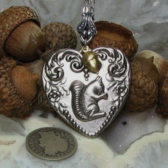Heart Squirrel Necklace Acorn Rhodium Antiqued Silver Brass LAST ONE