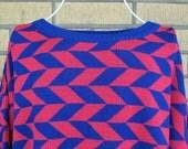 Vintage 80s Geometric Shape Cozy Hot Pink Sweater