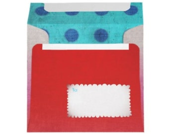Square Envelope scalloped - Set of 10 - pink - Blue