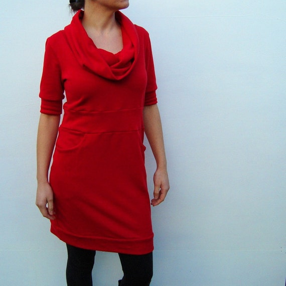 Pocket Cowl Jumper Dress Red available in xs,s,m,l,xl