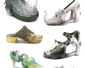 Sale- 5 fine art prints - Shoe Zoo