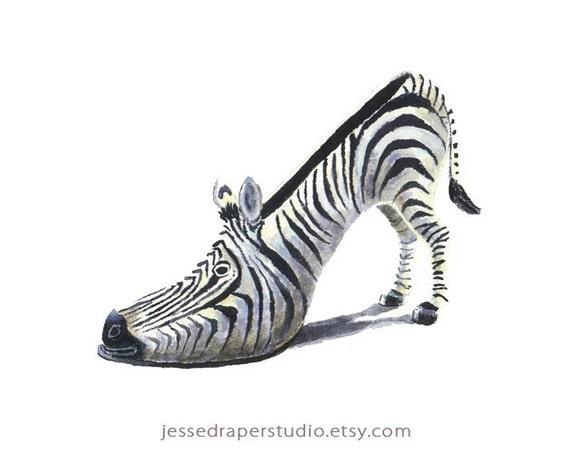 Three High Heeled Zebra 5x7 Art Prints