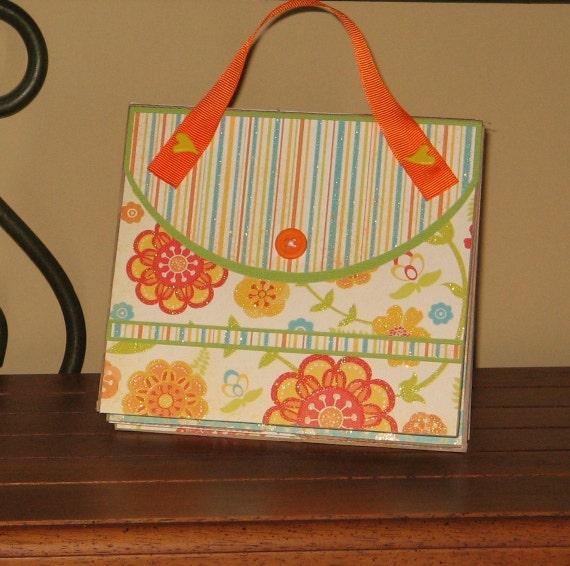 SALE-Purse Album- orange flowered paper bag album
