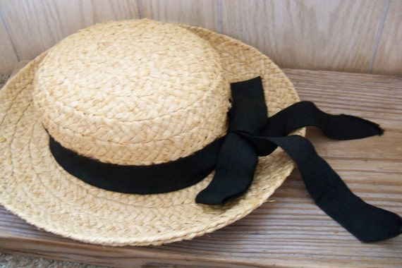 Ladys Straw Hat Scala Collection Bow 1970s