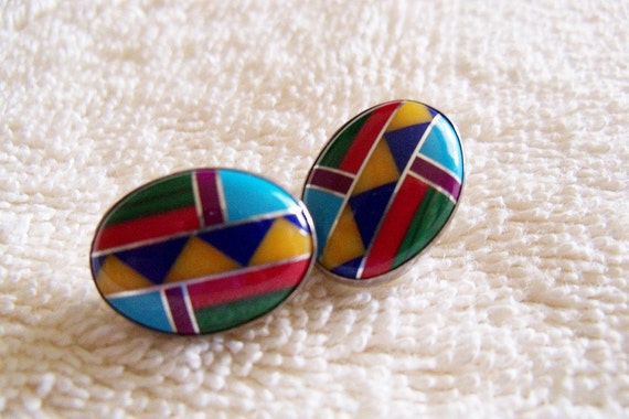 Vintage Earrings Zuni Inlaid Sterling Precious Stones