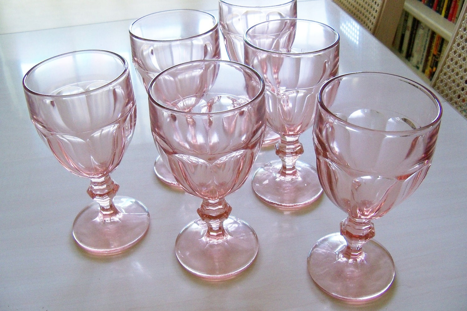 Libbey Gibraltar Duratuff Water Goblets Pink 1970s 6 Pc