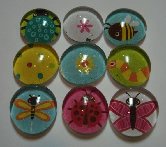 Glass marble magnets bugs and butterflies for Small magnets for crafts