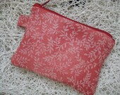CLEARANCE SALE Red Ferns Coin pouch with tissue cozy