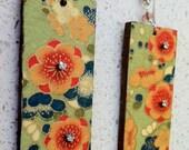 Rectangle Decoupage Earrings - Japanese Flowers