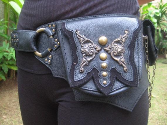 Brass Butterfly Turquoise Belt Bag in Black