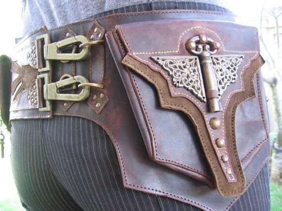 Steam Punk Militia Brass Blaster Belt Bag