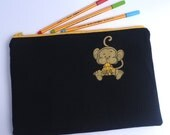 Pencil Case Pouch Large Recycled T Shirt Cheeky Monkey By BonTons on Etsy