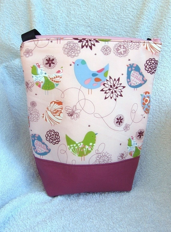 Insulated Lunch Bag Tote - Zip - Little Blue Bird by BonTonsGifts on Etsy