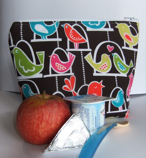 Insulated Lunch Bag Little - Zip - Eco Friendly Love Birds by BonTons on Etsy