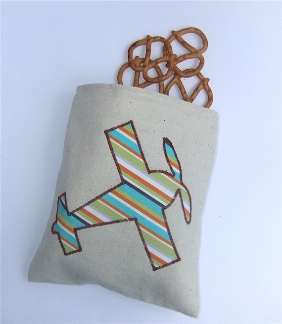 Reusable  Snack Bag Sandwich Organic Cloth - Airplane by BonTons on Etsy