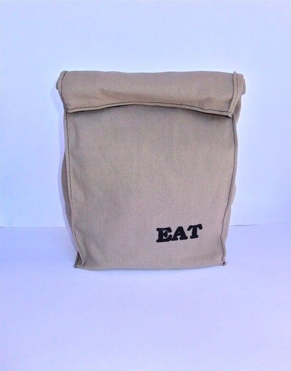 Fabric Paper Bag Reusable Snack Sack EAT Lunch Bag eco friendly by BonTons on Etsy