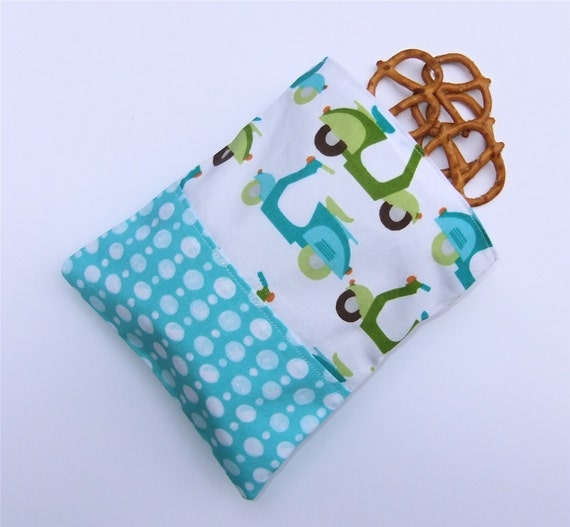Reusable  Snack Bag Sandwich Cloth Zip pouch Organic Scooters by BonTonsGifts on Etsy
