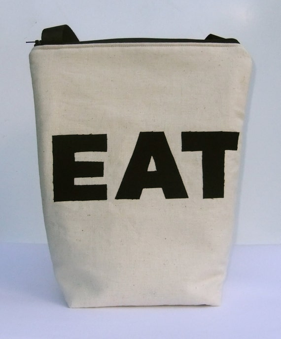 Insulated  Lunch Bag Tote Eco Friendly EAT by BonTons on Etsy Large Organic Lunch bag