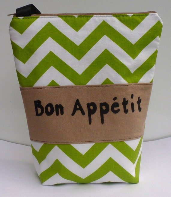 Insulated Lunch Bag Tote  Eco Friendly Zip Bon Appetit Lunch Bag Go Green Stripe Chevron by BonTons