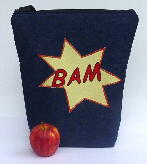Insulated Lunch Bag Tote  Eco Friendly Zip BAM Lunch Bag SuperHero by BonTons