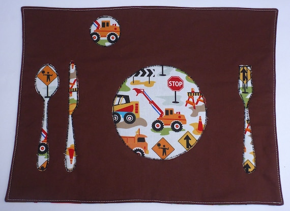 Set the Table Placemat Montessori Fun Educational Construction Zone Left Place Mat by BonTonsGifts on Etsy