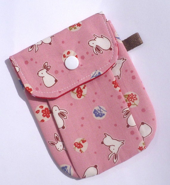 SALE Phone Pouch ipod pouch Camera Pouch Gadget Pouch Pink Bunny Pouch by BonTons on Etsy