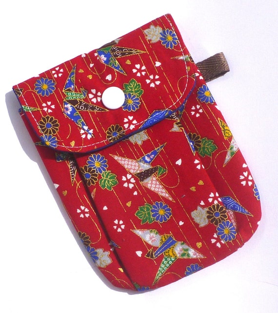 SALE Phone Pouch ipod pouch Camera Pouch Gadget Pouch Red Paper Crane by BonTons on Etsy