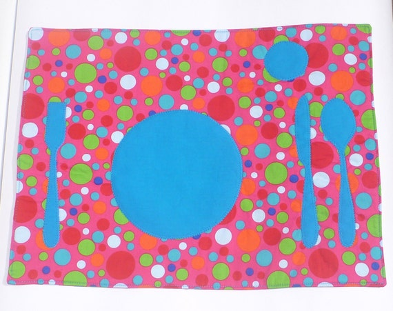Set the Table Placemat Montessori Fun Educational Spot Dot Pink Place Mat by BonTonsGifts on Etsy