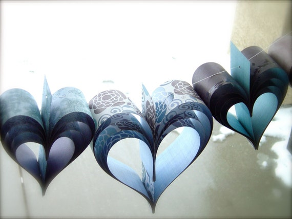 SALE Paper Hearts Wedding Garland Banner Vintage French Papiere Chocolate Brown and Indigo Hues of Blue Hand Crafted OOAK Shabby Chic