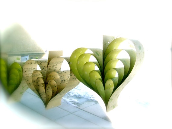 Paper Hearts Wedding Garland Banner Vintage Sheet Music Whimsical Miss Daisy, Green, Hand Crafted OOAK Large Hearts French Paperie