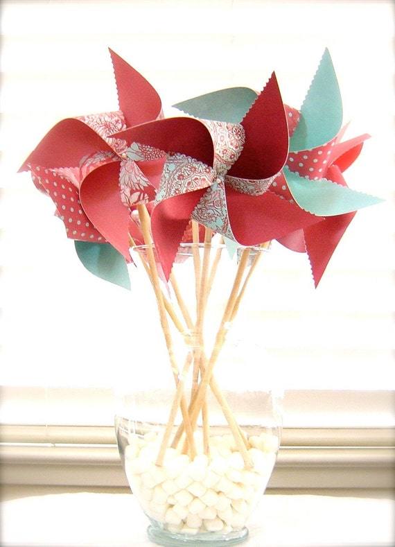 8 Large Twirlable Pinwheels Raspberry Robins Egg Tiffany Blue Polkadots Gourmet Vintage Photo Props Spinning ooak