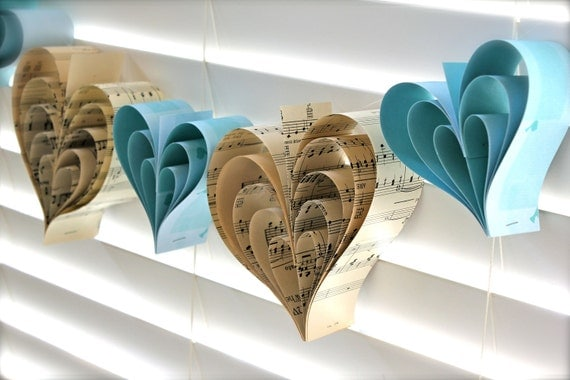 Paper Hearts Vintage Tiffany Blue Wedding Garland Sheet Music Banner Hand Crafted ooak Large French Paperie CUSTOM ORDERS WELCOME