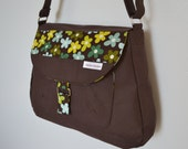 Sunbury Messenger in Brown Canvas with Green Floral Print